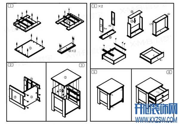 床头柜安装图,教你如何安装卧房床头柜