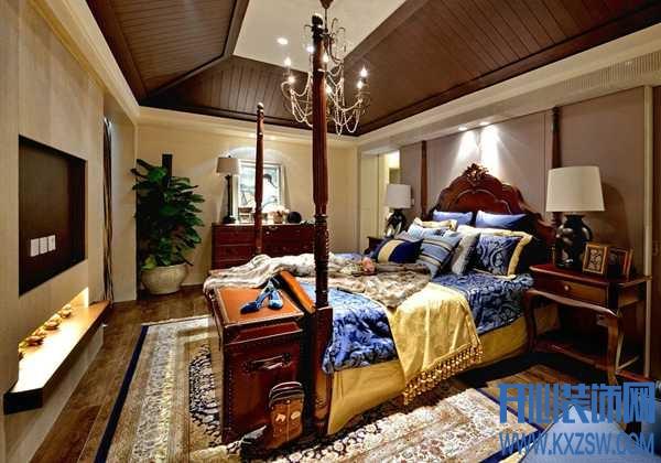 美式乡村卧室效果图欣赏,看美式风情的自然绽放