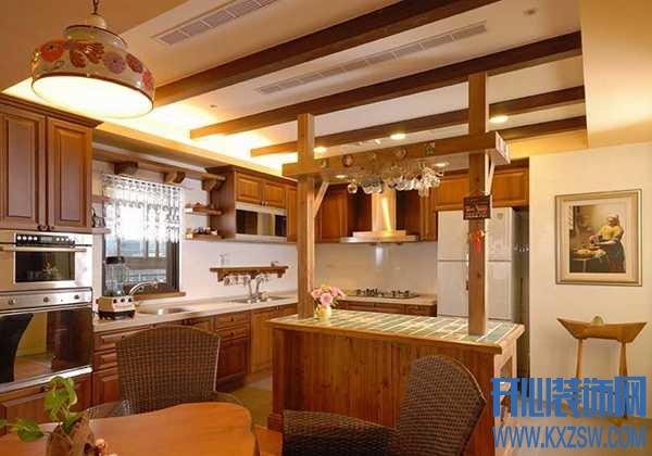 西式厨房的代表之作,美式乡村厨房吊顶的经典作用